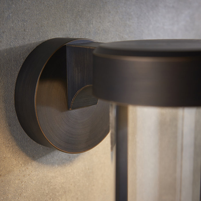 Ayton - Modern Brushed Bronze & Clear Glass LED Outdoor/Bathroom Wall Light