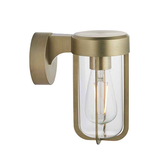 Ayton - Industrial Brushed Gold & Clear Glass Outdoor/Bathroom Wall Light