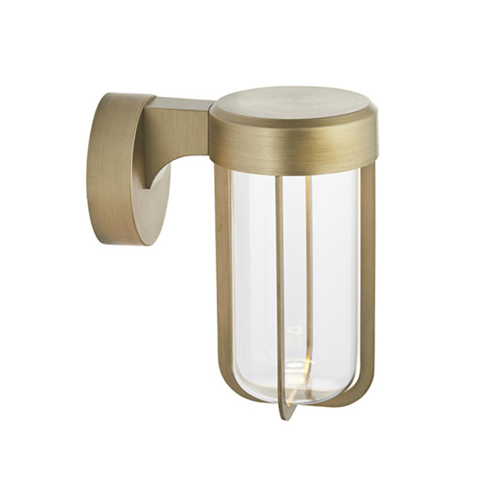 Ayton - Luxury Brushed Gold & Clear Glass LED Outdoor/Bathroom Wall Light