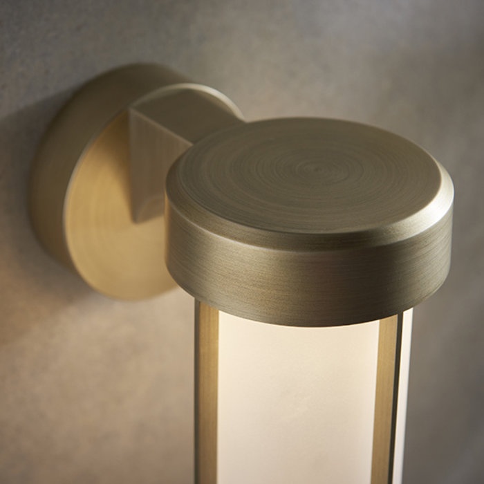 Ayton - Luxury Brushed Gold & Frosted Glass LED Outdoor/Bathroom Wall Light