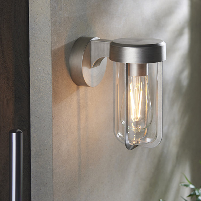 Ayton - Luxury Industrial Outdoor Wall Light - Brushed Silver & Clear Glass