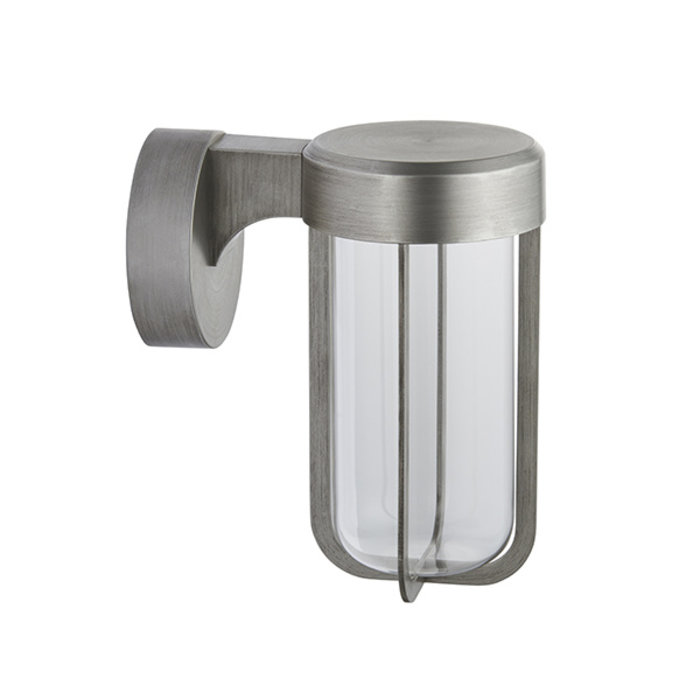Ayton - Luxury Modern Outdoor LED Wall Light - Brushed Silver & Clear Glass