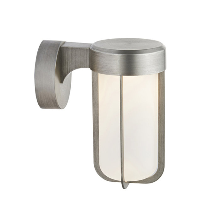 Ayton - Luxury Modern Outdoor LED Wall Light - Brushed Silver & Frosted Glass