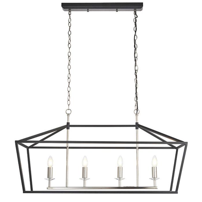 Nicholas - Luxury Black Lantern Shaped Bar Pendant