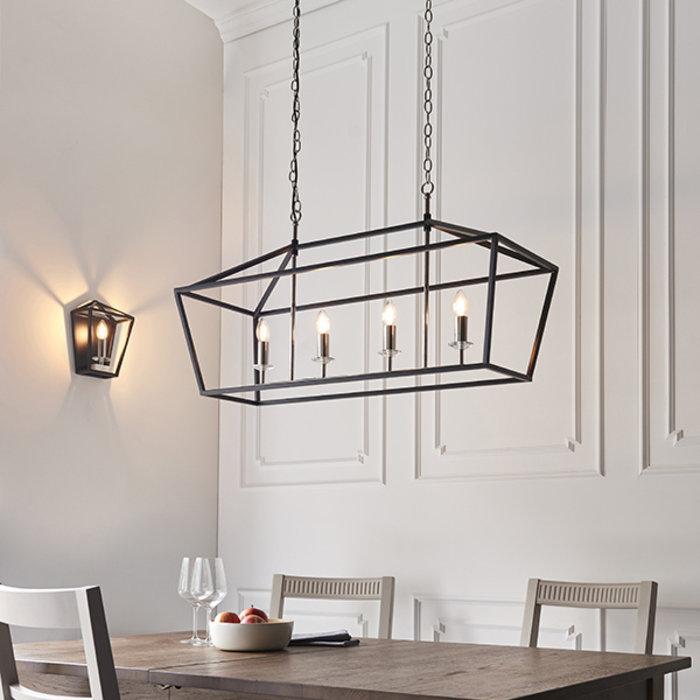 Nicholas - Luxury Black Lantern Shaped Bar Pendant