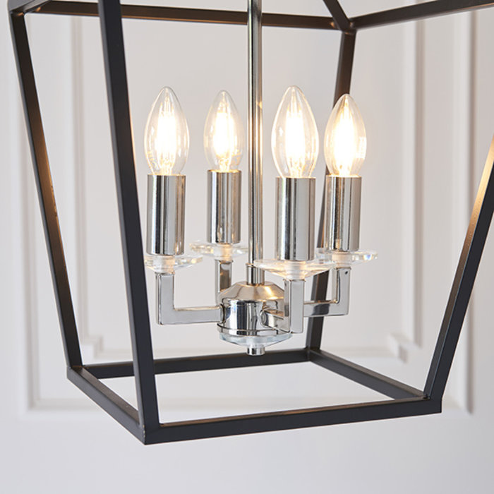 Nicholas - Black and Bright Nickel Lantern Pendant