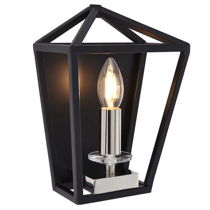 Nicholas - Black and Bright Nickel Lantern Wall Light