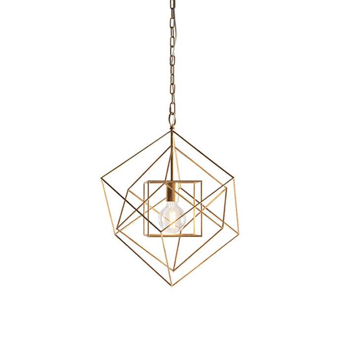Ramshill - Medium Gold Leaf Cage Single Pendant