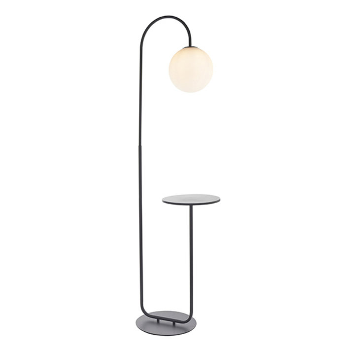 Bridestone - Black Floor Light with Table and Opal Glass
