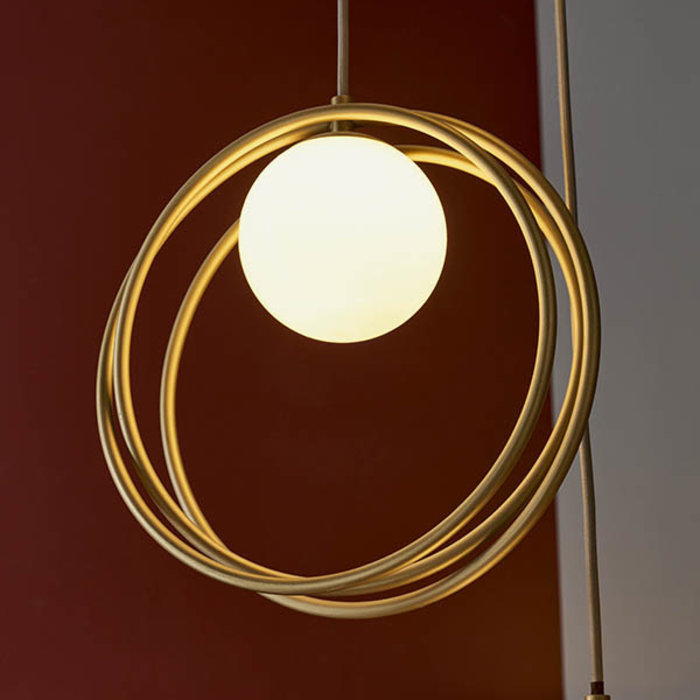 Dalby - Mid Century Brushed Gold Hoops Multi Pendant