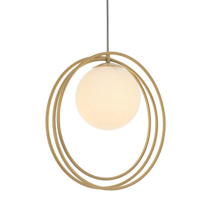 Dalby - Mid Century Brushed Gold Hoops Single Pendant