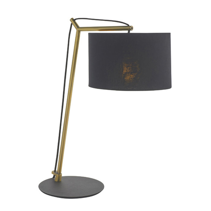 Robin - Modern Angular Arc Table Light with Black Shade - Matt Brass