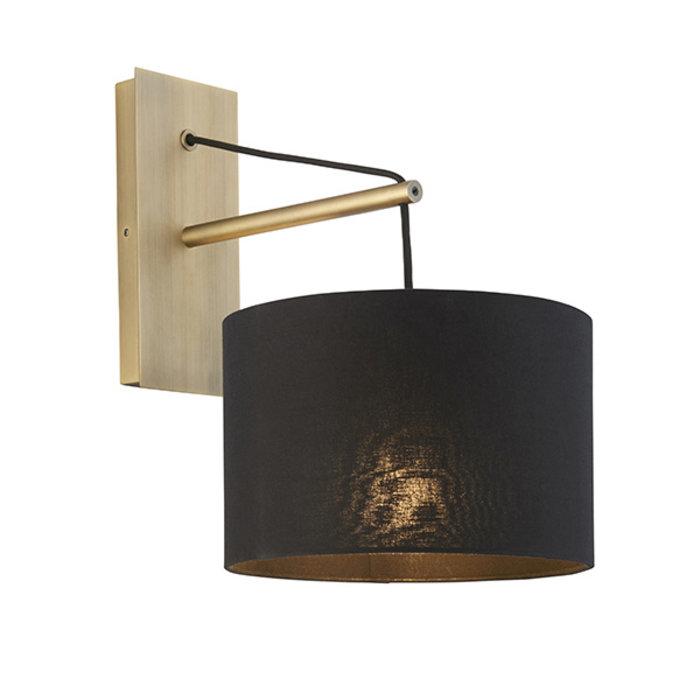 Robin - Modern Angular Arc Wall Light with Black Shade - Matt Brass