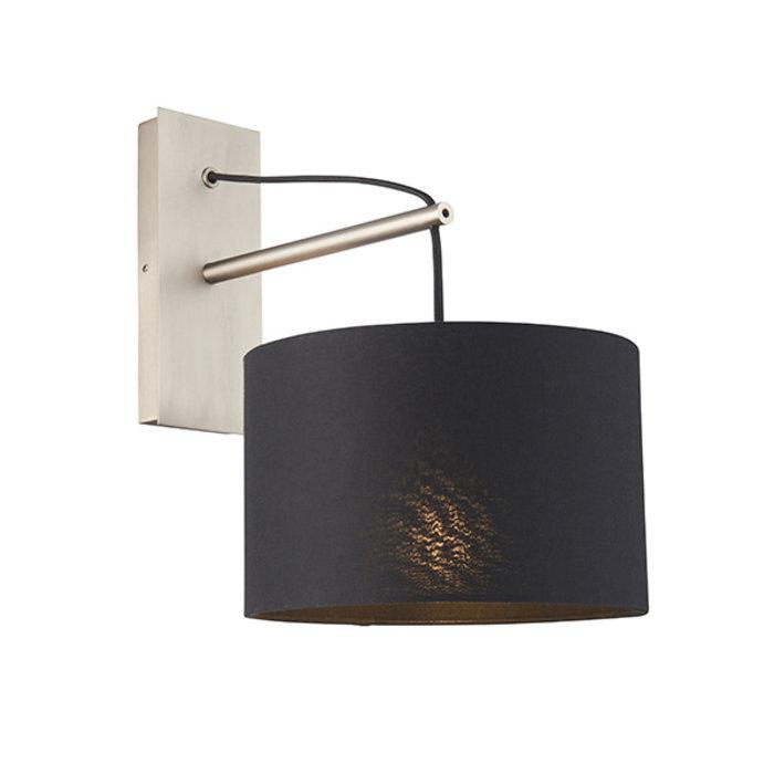 Robin - Modern Angular Wall Light with Black Shade - Matt nickel