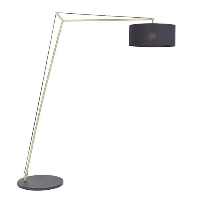 Robin - Large Modern Angular Arc Floor Light with Black Shade - Matt Brass