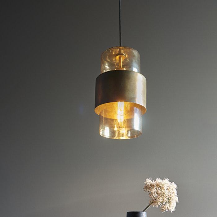 Malton - Industrial Amber Glass Pendant - Antique Brass Patina
