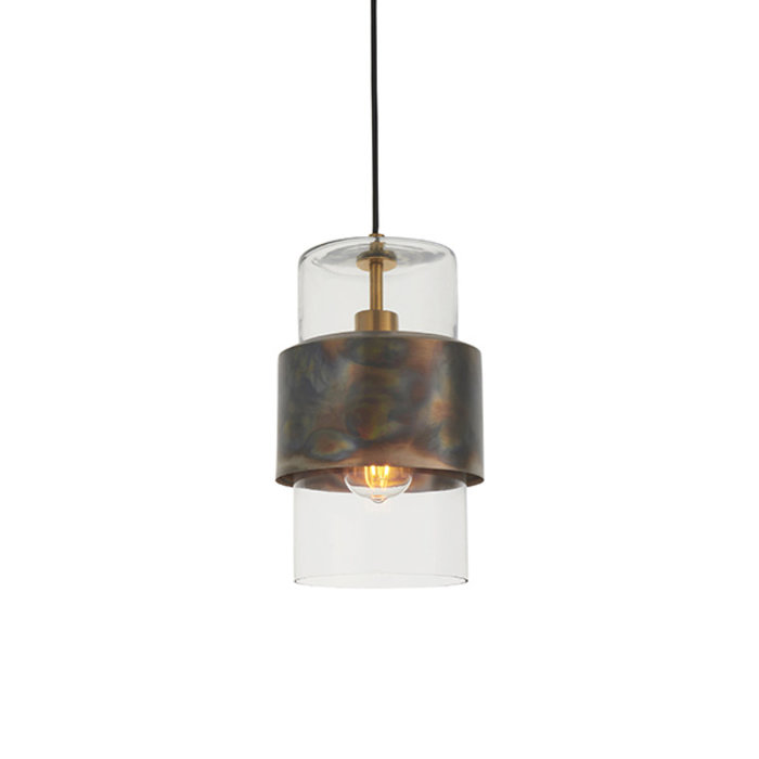Malton - Industrial Clear Glass Pendant with Bronze Patina