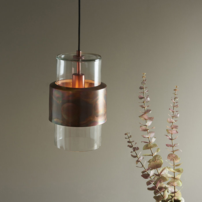 Malton - Industrial Glass Pendant with Copper Patina Ring