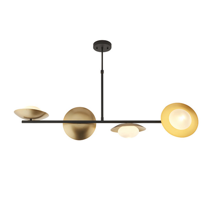 Harwood - Scandi Disc Bar Pendant with Opal Globes - Dark Bronze & Gold