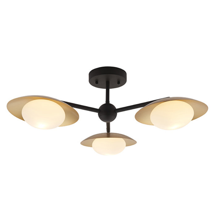 Harwood - Scandi Dish Semi-Flush Light with Opal Globes - Dark Bronze & Gold
