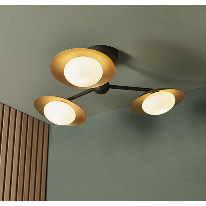 Harwood - Scandi Dish Semi-Flush Light with Opal Globes - Dark Bronze & Gold