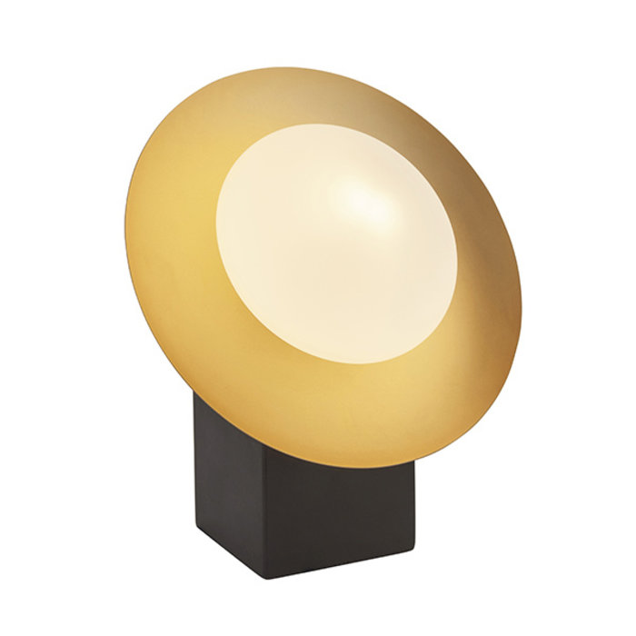 Harwood - Scandi Disc Table Light with Opal Glass Globe - Dark Bronze & Gold