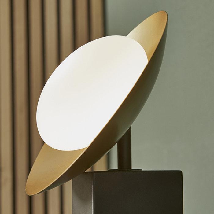 Harwood - Scandi Disc Table Light with Opal Glass Globe - Dark Bronze & Gold