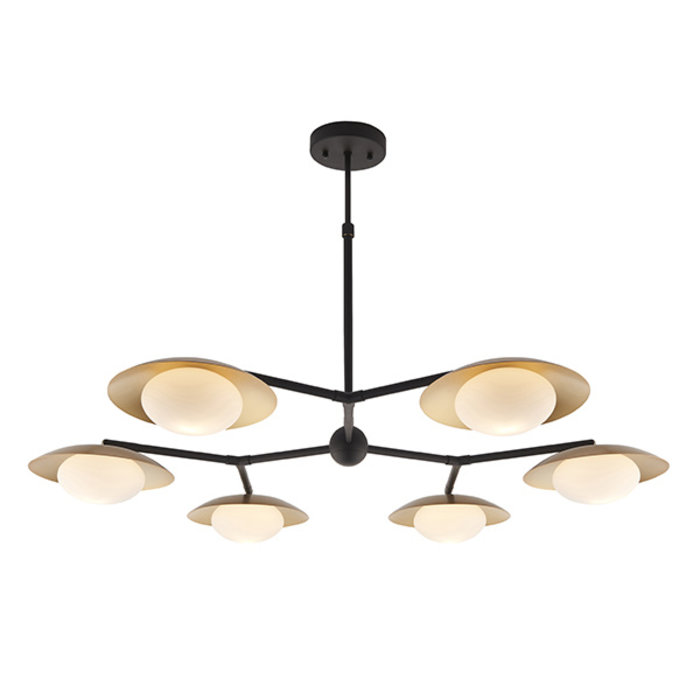 Harwood - Large Scandi Disc Feature Light with Opal Globe - Dark Bronze & Gold