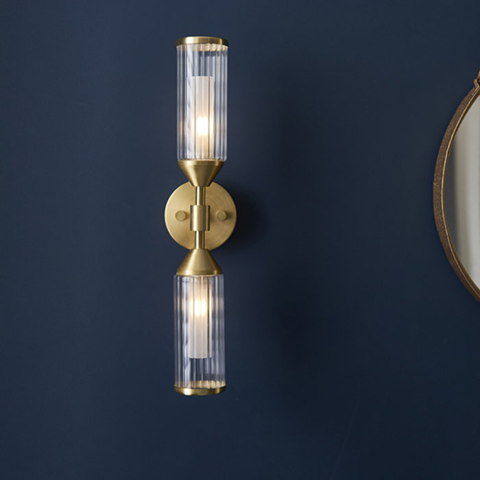 Beverley - Luxury Frosted & Clear Ribbed Glass Double Wall Light - Satin Brass