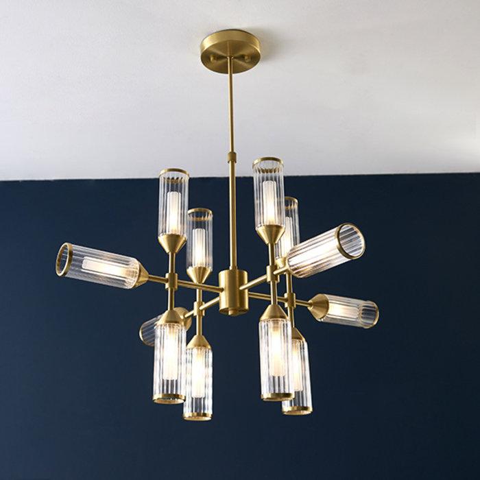 Beverley - Clear Reeded Glass  Feature Light - Satin Brass
