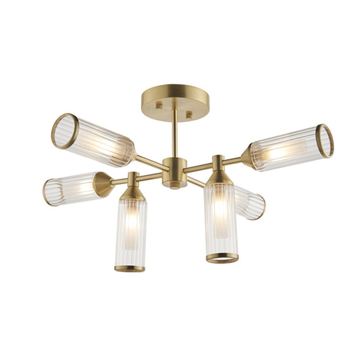 Ribbed and Frosted Glass Satin Brass Semi-Flush