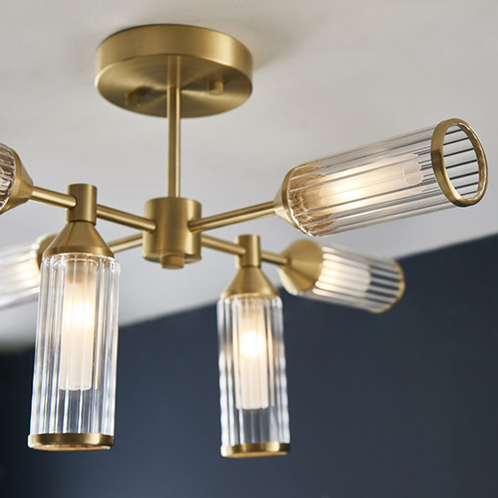 Beverley - Clear Reeded Glass Semi Flush Light - Satin Brass