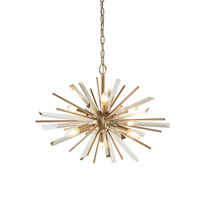 Welburn - Champagne Glass & Brass Starburst Feature Light