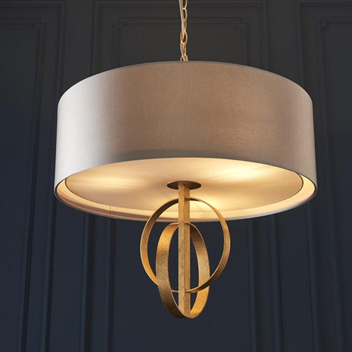 Crescent - Luxury Modern Drum Pendant - Gold Leaf & Mink