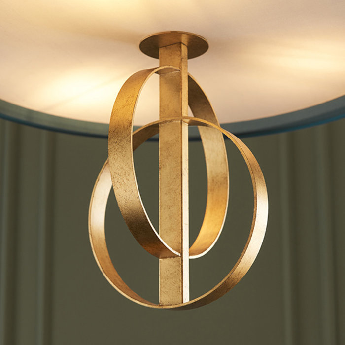 Crescent - Luxury Modern Drum Ceiling Light - Gold Leaf & Teal