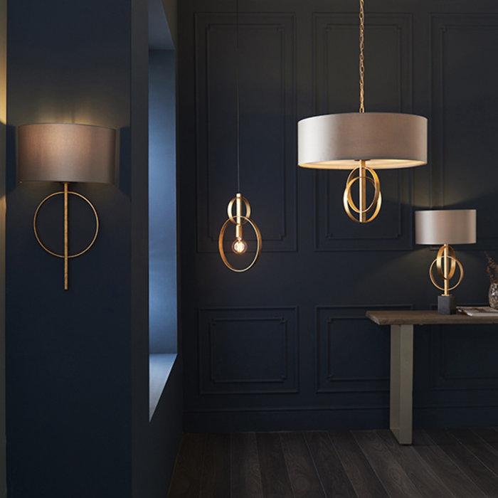Crescent - Large Luxury Modern Drum Ceiling Light - Mink & Gold Leaf
