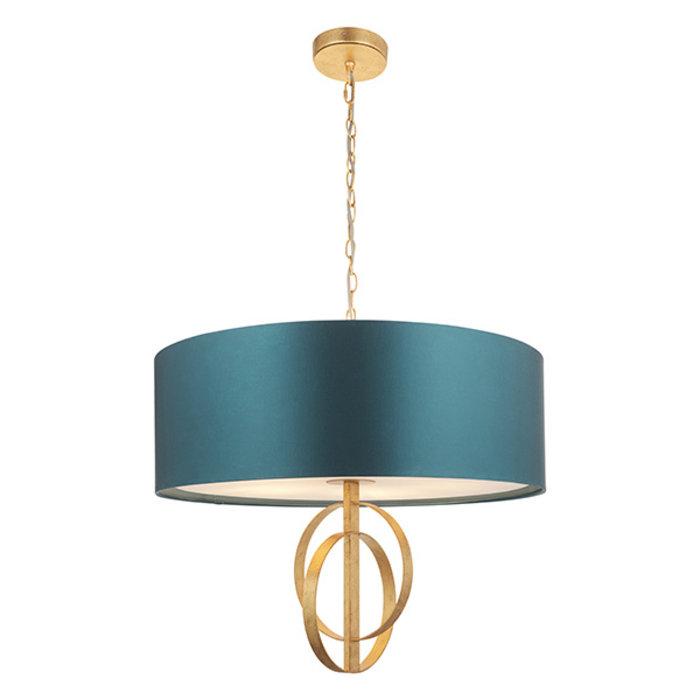 Crescent - Large Luxury Modern Drum Ceiling Light - Gold Leaf & Teal