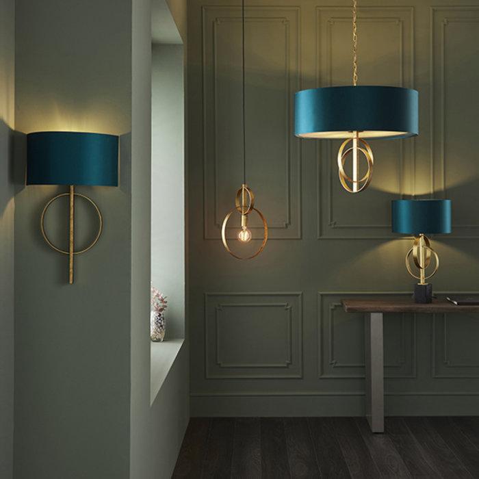 Crescent - Large Luxury Modern Drum Ceiling Light - Gold Leaf & Teal
