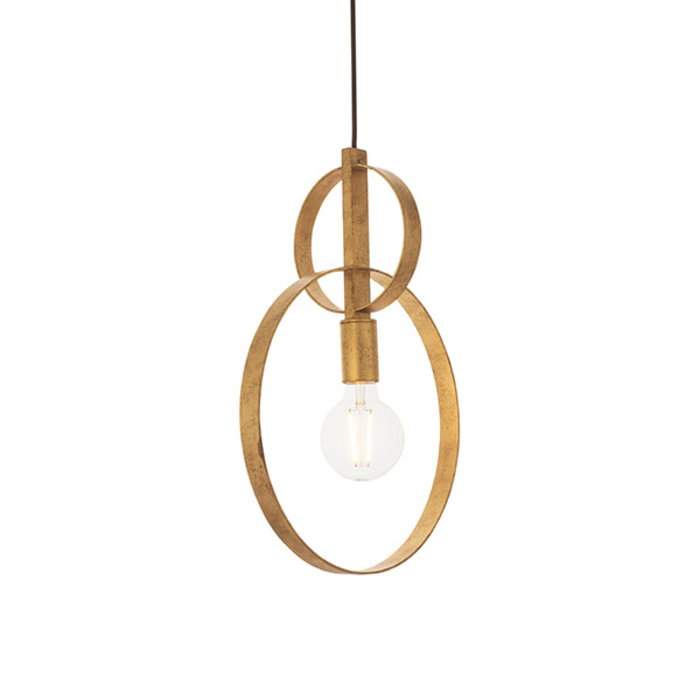 Crescent - Luxury Modern Circle Single Pendant - Gold Leaf