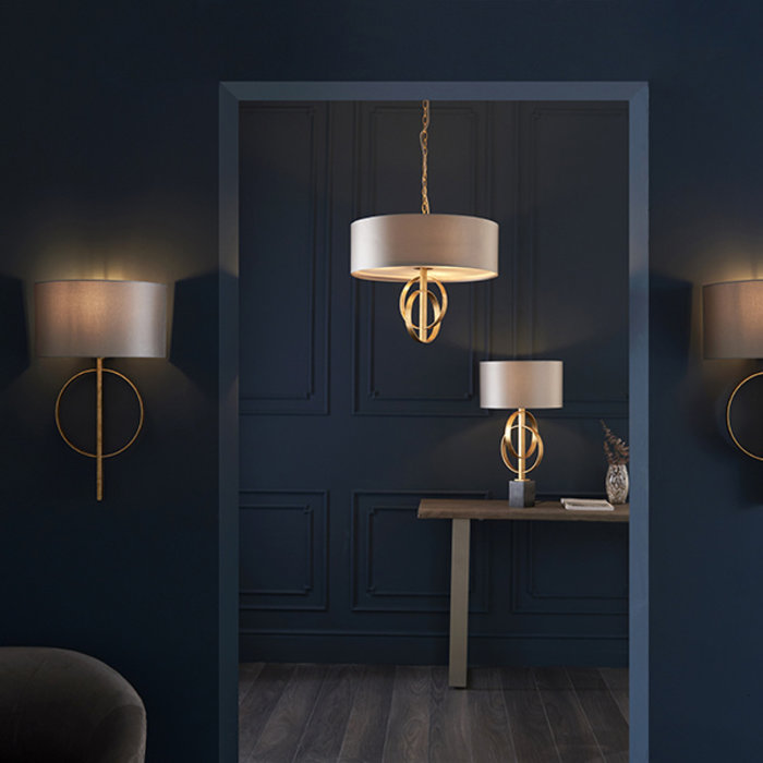 Crescent - Luxury Modern Circles Table Light with Teal Shade - Gold Leaf