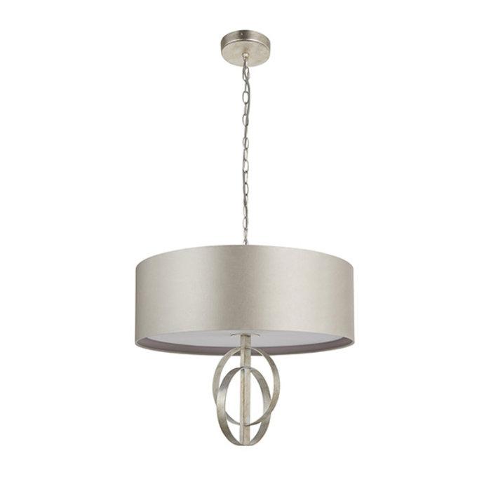 Crescent - Luxury Modern Drum Pendant - Silver Leaf & Mink