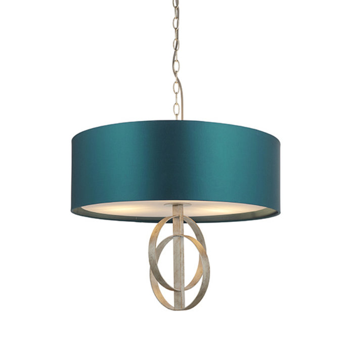 Crescent - Luxury Modern Drum Ceiling Light - Silver Leaf & Teal