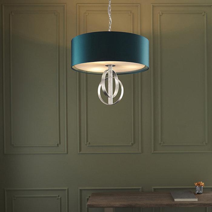 Crescent - Luxury Modern Drum Ceiling Light - Silver Leaf & Teal