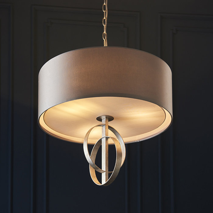 Crescent - Large  Luxury Modern Drum Ceiling Light - Mink & Silver Leaf
