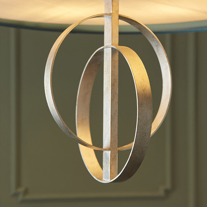 Crescent Large Luxury Modern Drum Ceiling Light - Silver Leaf & Teal