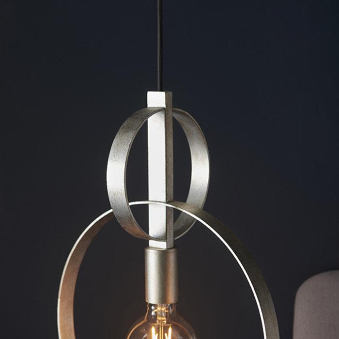 Crescent - Luxury Modern Circle Single Pendant - Silver Leaf