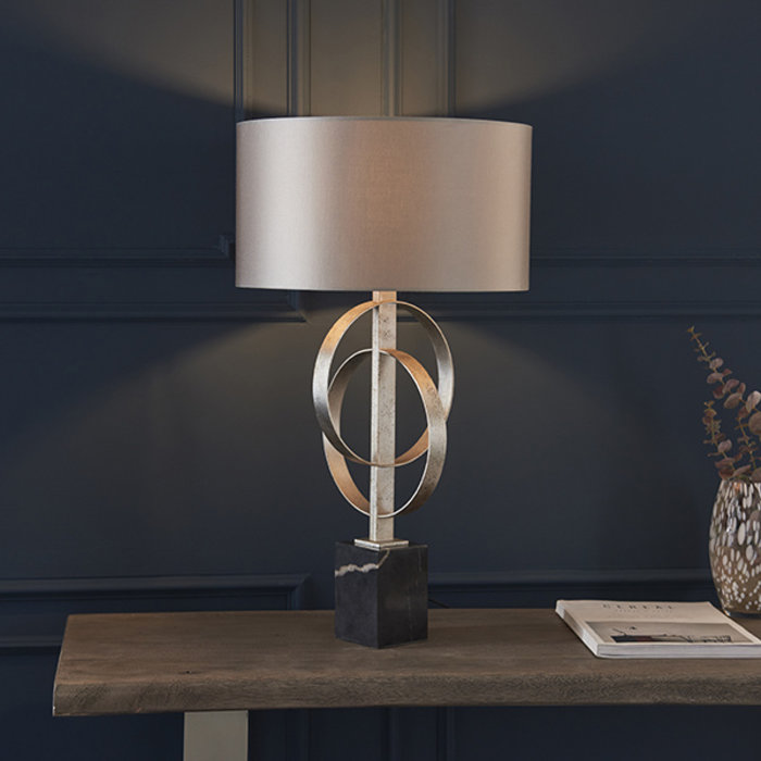 Crescent - Luxury Modern Circles Table Light with Mink Shade - Silver Leaf