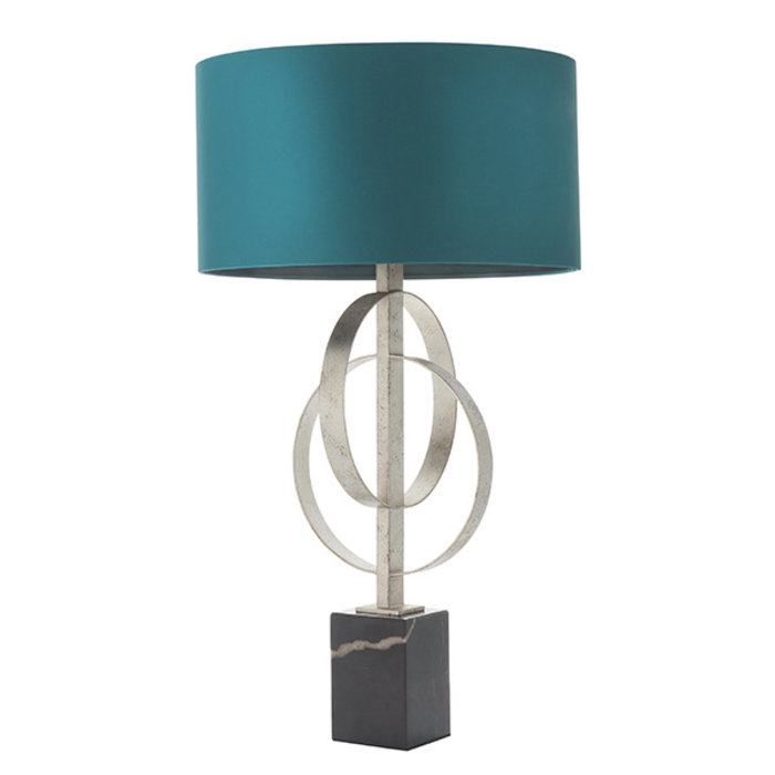 Crescent - Double Hoop Silver Leaf Table Light with Teal Shade