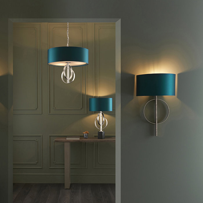 Crescent - Luxury Modern Circles Table Light with Teal Shade - Silver Leaf
