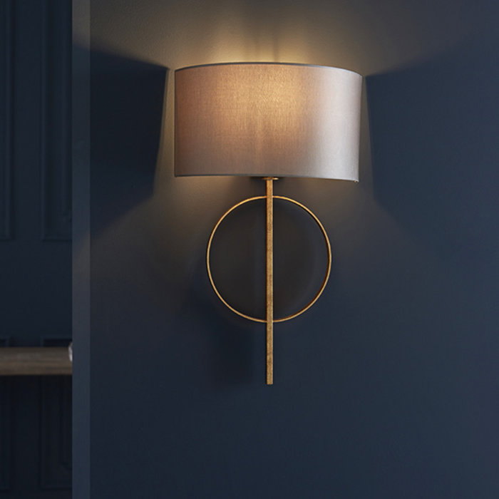 Crescent - Luxury Modern Circle Wall Light with Mink Shade - Gold Leaf